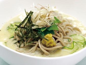 らくい特製 冷汁そば<br>Rakui Special Hiyajiru Cold Miso Soba Noodles