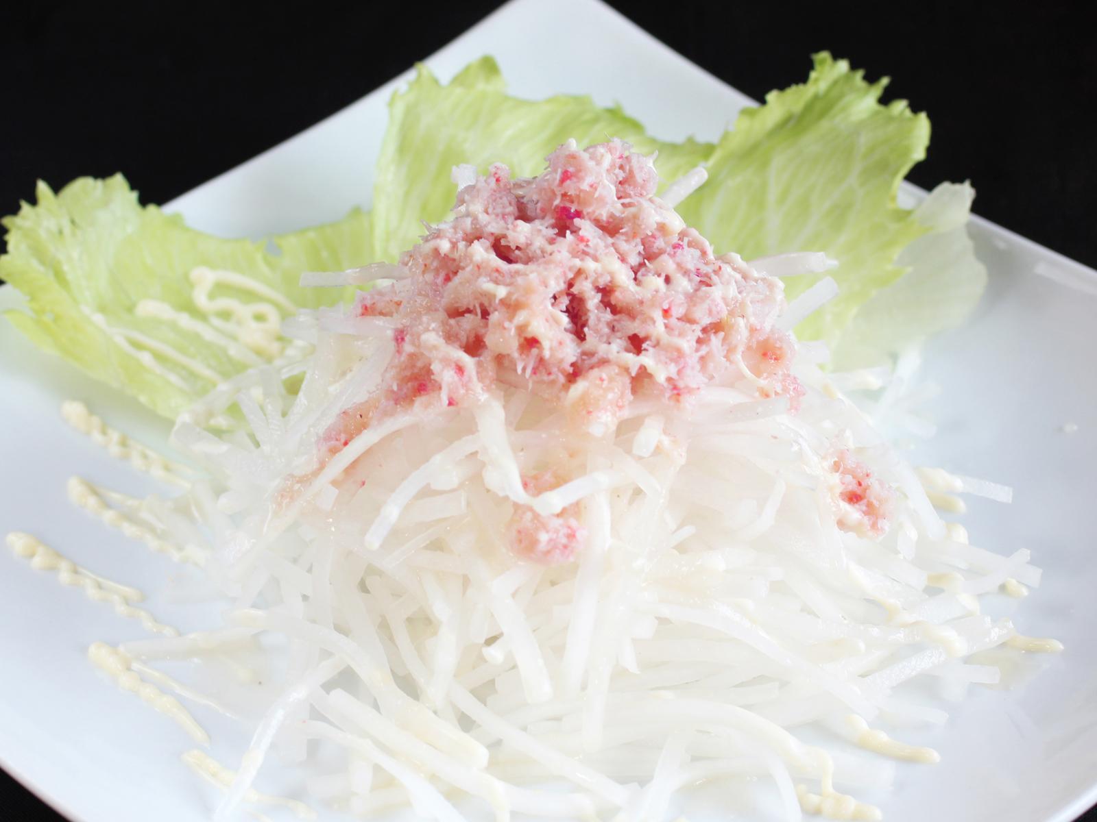 蟹と大根のたまねぎドレッシングサラダ