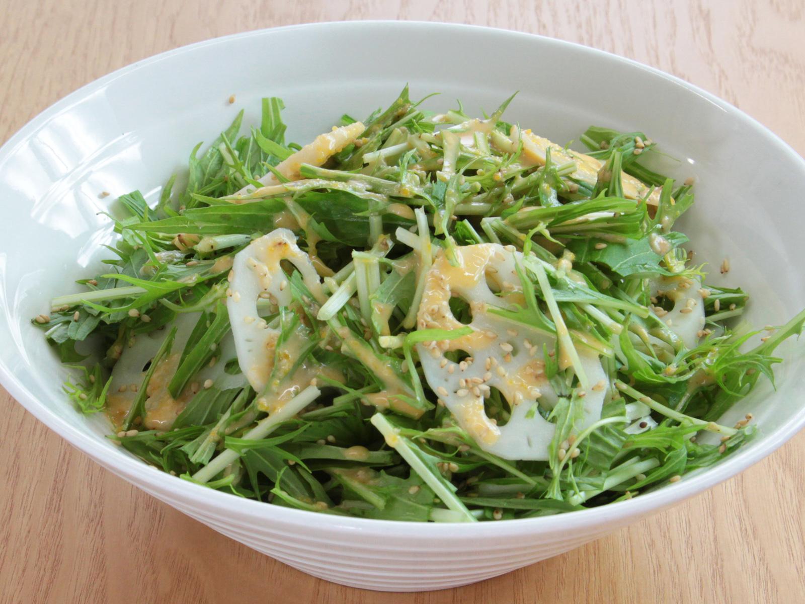 レンコンと水菜のサラダ