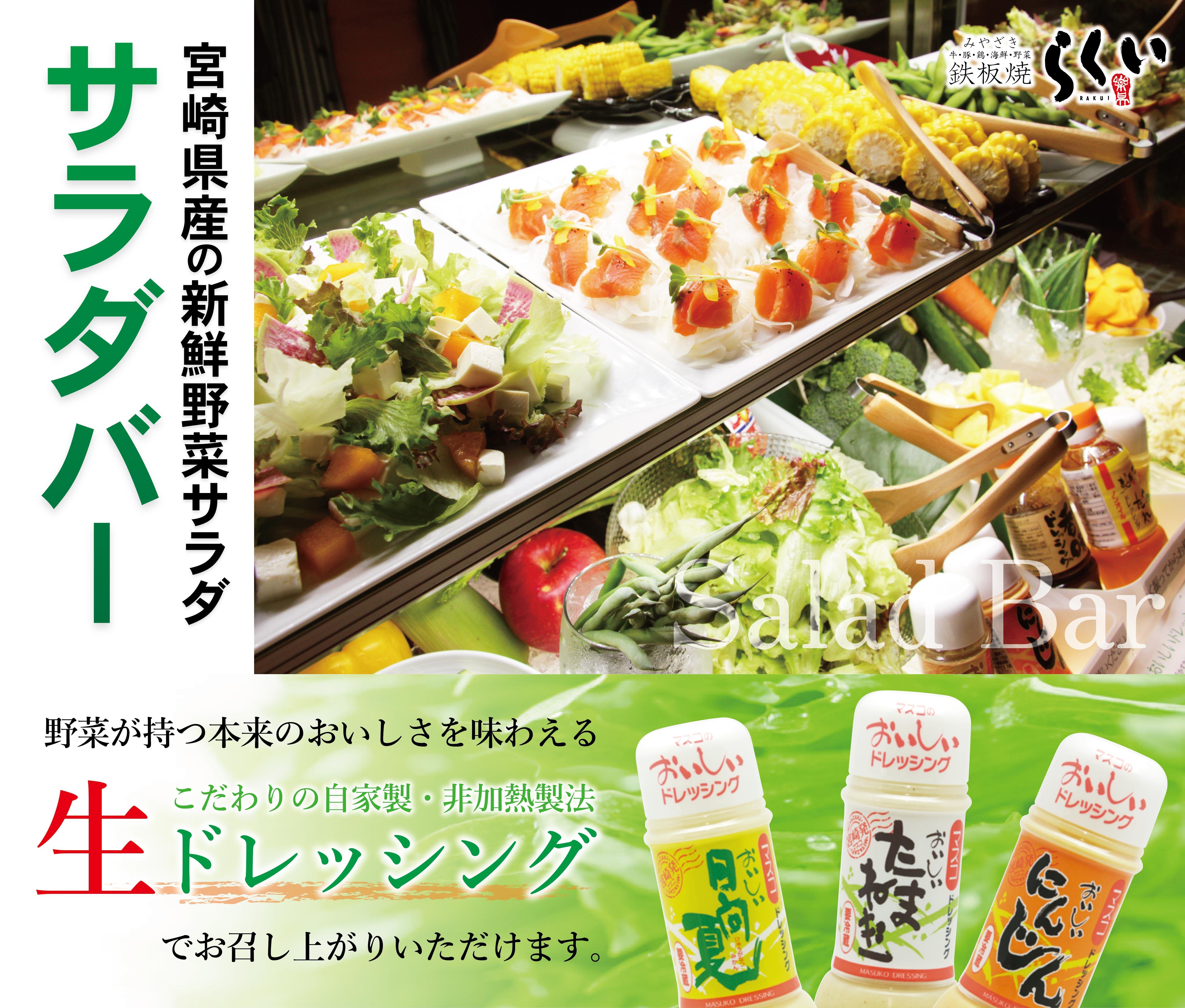 宮崎県産の新鮮野菜サラダ サラダバー